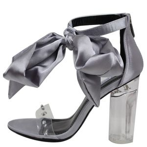 Shoes - Silver Ribbon Tie Clear Strap Lucite Heel